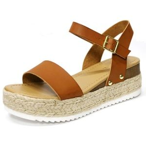 New Tan Open Toe Espadrille Flatform Sandals